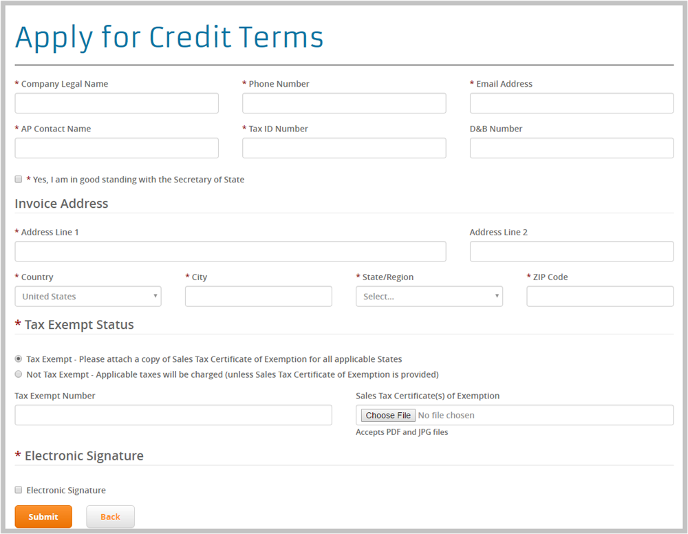 Online Credit Application - Packaging Options Direct