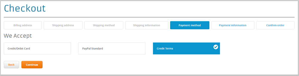 Select Credit as Payment Option