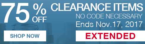 Offer extended! For a limited time, get 75 percent off all clearance items. Get them before they're gone forever. Promotion ends November 17, 2017. No code necessary.