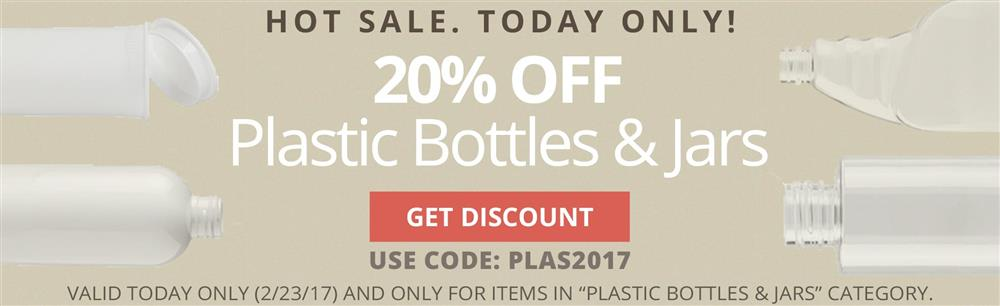20% OFF Plastic Bottles & Jars. Today Only. Use coupon code PLAS2017.