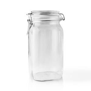 1500 ml Clear Glass Square Latch Top Jar
