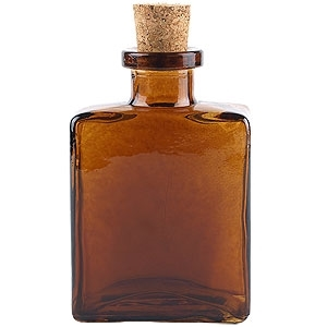 5 oz Glass Cork Top Rectangular Amber Glass Bottle