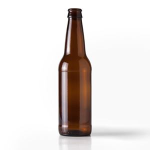 Picture of 12 oz Round Glass Amber Beer Bottle WHOLESALE