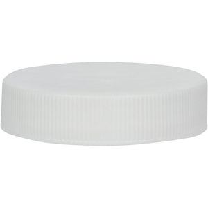 45-400 White Continuous Thread Lined Plastic Closure with Ribbed Skirt - Front View