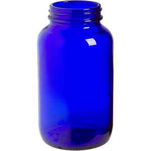 400 cc Cobalt Blue Glass Packer Round with 53-400 Neck Finish