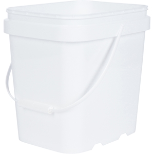 2 Gallon White HDPE Plastic Oblong Pail