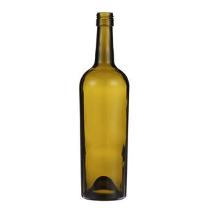 750 ml Antique Green Glass Tapered Claret Wine Bottle