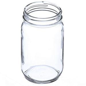 8 oz Clear Glass Economy Jar Round - 58-400 Neck Finish - Angled View