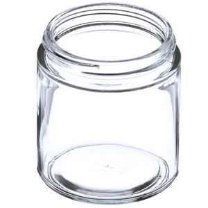 4 oz Clear Glass Jar Round - 58-400 Neck Finish - Angled View