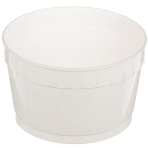 1.5 Gallon White HDPE Plastic Round Pail - No Handle - Angled View