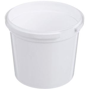 12 oz White P/P Plastic Tub Round - Tamper Indicating / Child Resistant - Angled View