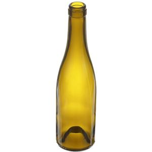 375 ml Antique Green Glass Burgundy Wine Bottle | 29.7mm Cork Neck Finish | 340 Gram Weight - Angled View