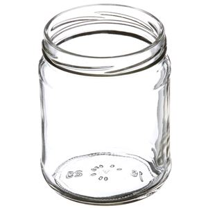 16 oz Clear Glass Jar Round - 82-2040 Neck Finish - Angled View
