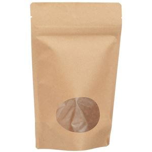 4 oz (113 gram) Natural Kraft Stand Up Zip-Lock Pouch with Oval Window - Front View