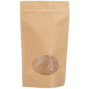 1 Lb (454 gram) Natural Kraft Stand Up Zip-Lock Pouch with Oval Window - Front View
