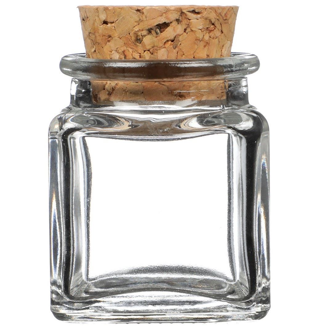 1 4 Oz Clear Glass Cork Top Jar Square Decorative Cork