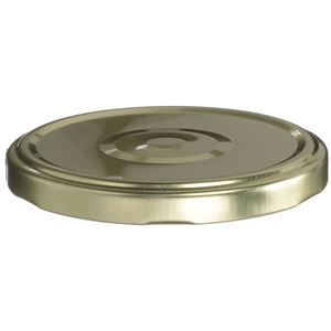 82-2040 Lug Lined Gold/White Metal Closure - Button - Plastisol Liner  - Front View