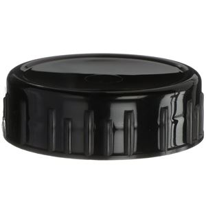 63-485 Continuous Thread Lined Black P/P Plastic Closure - PS22 Printed & Foam Liners - Front View