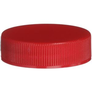 38-400 Continuous Thread Lined Red P/P Plastic Closure - F217 Vented Liner - Front View