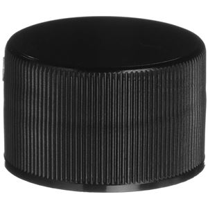 28-410 Continuous Thread Lined Black P/P Plastic Closure - PE Foam Liner - Front View