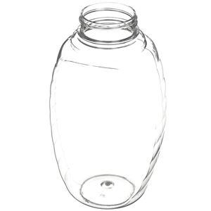 12 oz Clear PET Plastic Jar Oval - Holds 1 Lb of Honey - Angled View