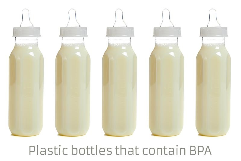 A plastic bottle that contains BPA