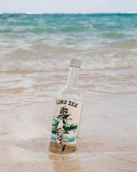 Bottle of Luna Sea Vodka by the Beach