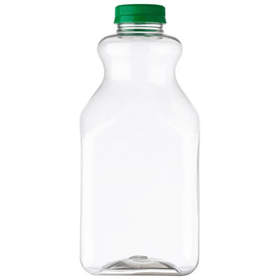59 oz Clear PET Plastic Square Juice Bottle