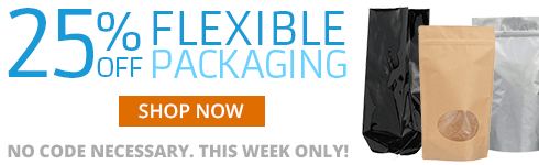 We've completely redesigned our Flexible category to make it even easier for you to find the right packaging solution for your product. To celebrate, this week only, get 25% OFF all Flexible Packaging. No coupon code necessary. Offer expires 11/18/18.