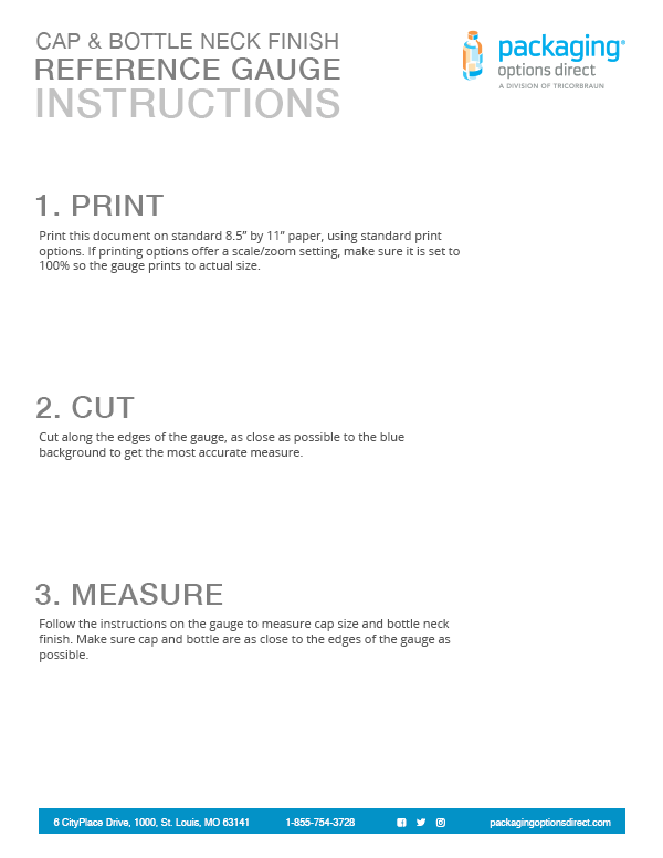 Download the Packaging Options Direct printable gauge instructions.