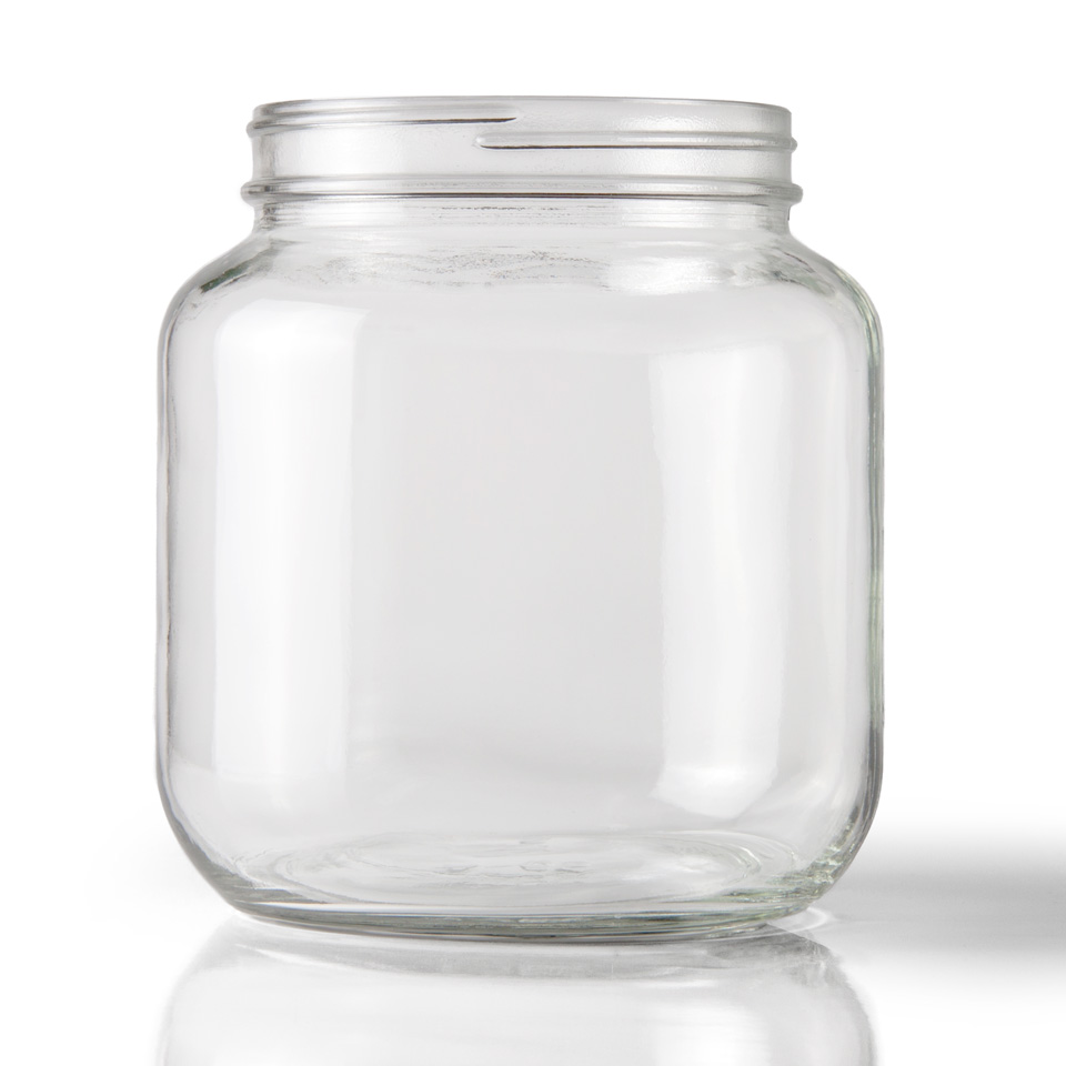 123c55b94bbe 64 oz Clear Glass Jar Round - 110-400 Neck Finish - 6 Per Carton