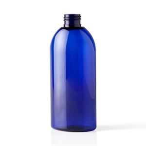 8 oz Cobalt Blue PET Plastic Oval Bullet Bottle - 24-410 Neck Finish - Front View
