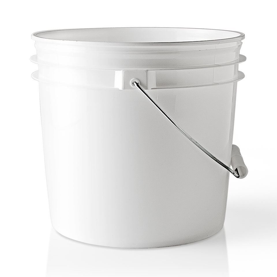 1 Gallon White Hdpe Plastic Round Pail With Metal Swing
