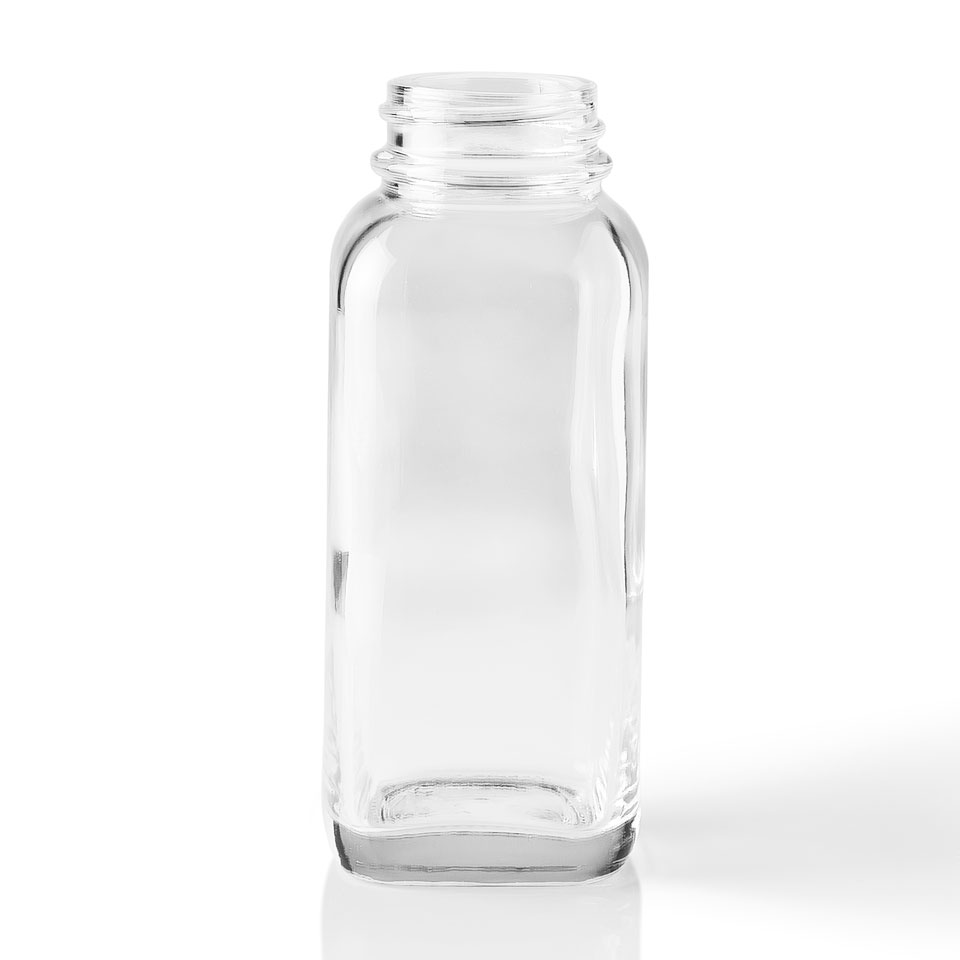 4 Oz French Square Clear Glass Bottle Packaging Options
