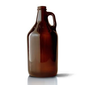 64 oz Round Amber Glass Beer Growler