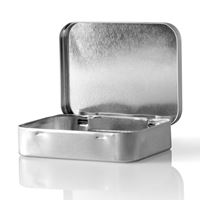 1.5 oz Silver Metal Oblong Tin Case with Hinged Lid - Front Open View
