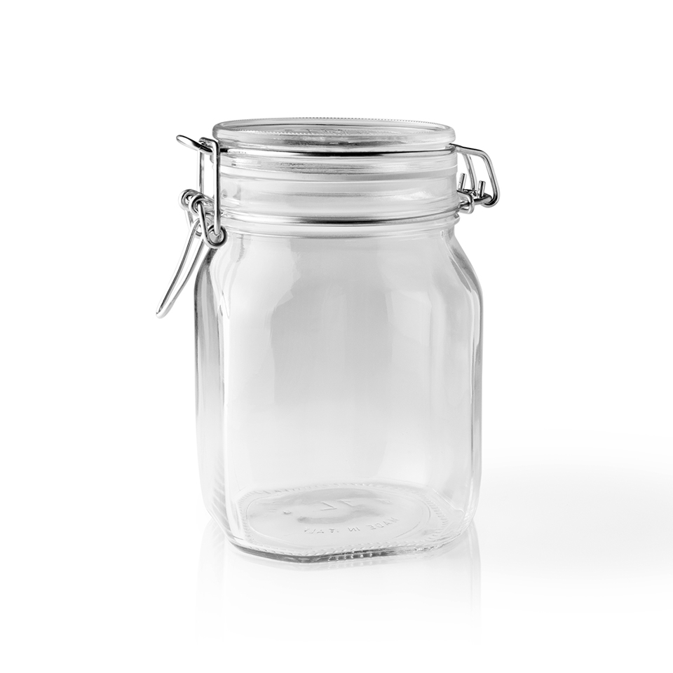1000 Ml Clear Glass Square Latch Top Jar Packaging Options Direct