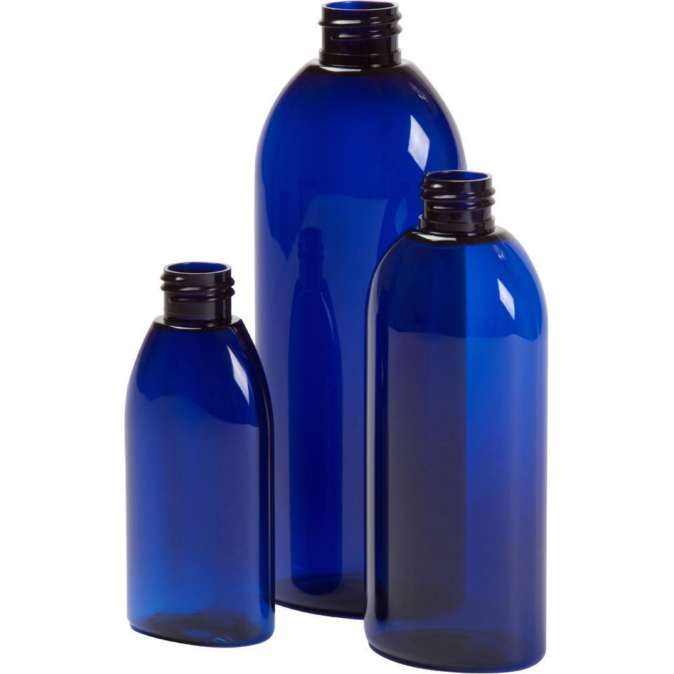 Cobalt Blue PET Boston Round Plastic Bottle with 24mm by 410 Thread Neck 48 Bottles Caps Sold Separately 8 oz
