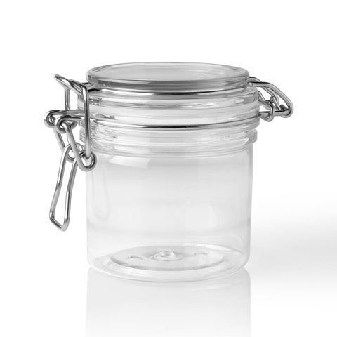 Picture Of 200 Ml Pet Clear Plastic Latch Top Round Jar