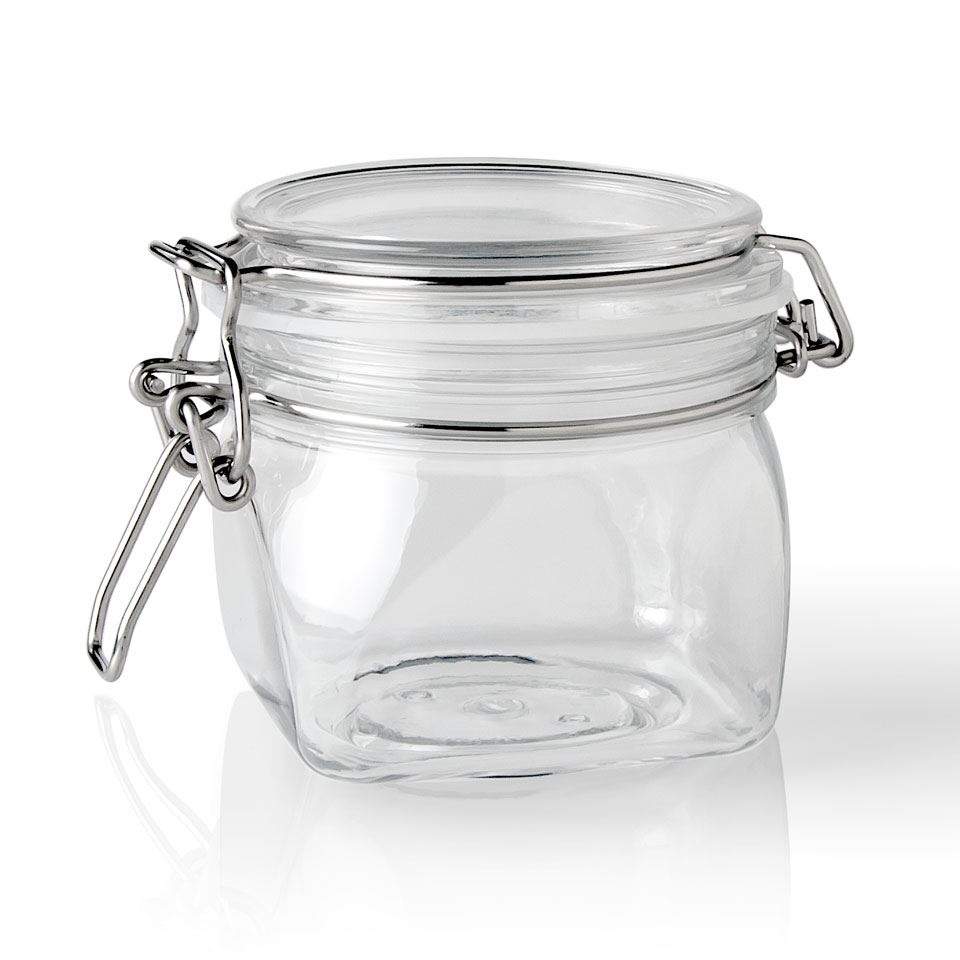 Picture Of 350 Ml Pet Clear Plastic Latch Top Square Jar