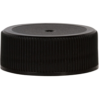 28-400 Continuous Thread Lined Black P/P Plastic Closure with SureSeal Liner - Front View