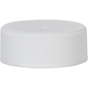 28-400 Continuous Thread Lined White P/P Plastic Closure with SureSeal Foam Liner - Front View