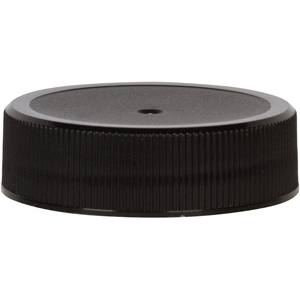 38-400 Continuous Thread Lined Black P/P Plastic Closure - Front View