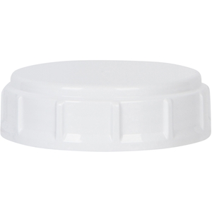 63mm Buttress Style Continuous Thread Lined White P/P Plastic Closure - Front View