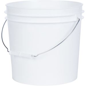 2 Gallon White HDPE Plastic Pail Round with Metal Swing Handle - Front View