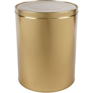 914 x 1208 Gold Metal Round Clambake Tin Can with Metal Cover -  Holds 30 Lbs - Front View