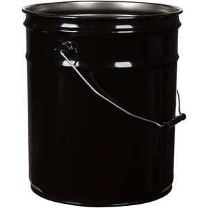 5 Gallon Black Steel Tapered Pail Round