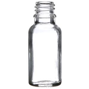 20 ml Clear Glass Round Euro Dropper Bottle - 18mm Neck Finish - Front View