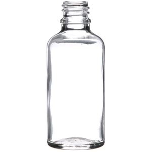 50 ml Clear Glass Euro Dropper Bottle - 18mm Neck Finish - Front View