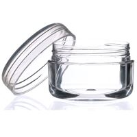 6 ml Clear P/S Plastic Round Thick Wall Balm Jar - Closure Included - Open Front View